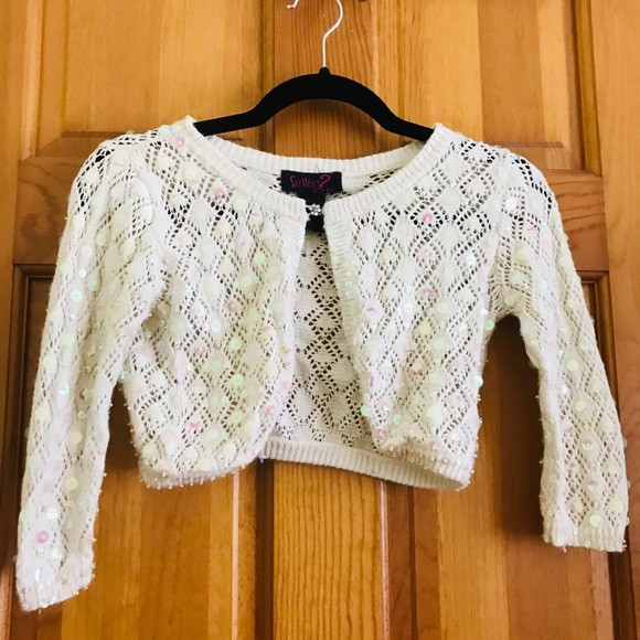 Say What? Other - Cream sequined sweater / shawl